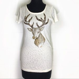 J. Crew T-Shirt With Beaded Deer Graphic